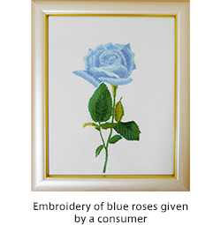 Embroidery of blue roses given by a consumer