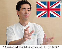 """Aiming at the blue color of Union Jack"""